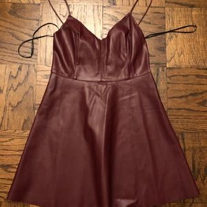 Forever 21 Maroon Faux Leather Skater Dress